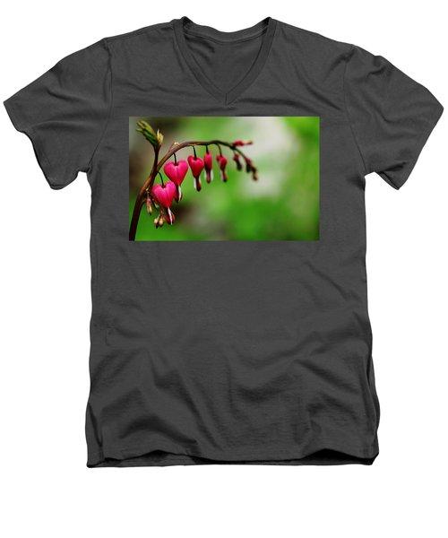Men's V-Neck T-Shirt featuring the photograph Bleeding Hearts Flower Of Romance by Debbie Oppermann