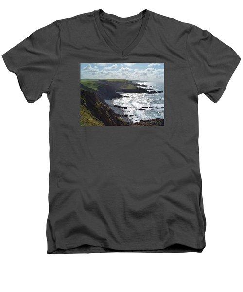 Blegberry Cliffs From Damehole Point Men's V-Neck T-Shirt by Richard Brookes