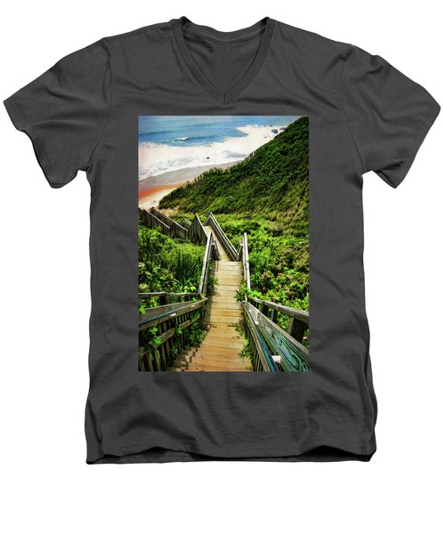 Block Island Men's V-Neck T-Shirt by Lourry Legarde
