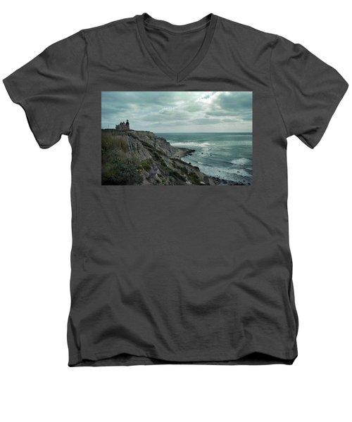 Block Island South East Lighthouse Men's V-Neck T-Shirt by Skip Willits