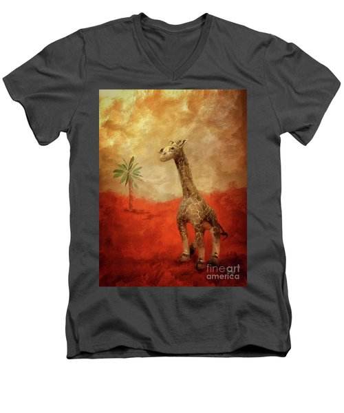 Men's V-Neck T-Shirt featuring the digital art Block's Great Adventure by Lois Bryan
