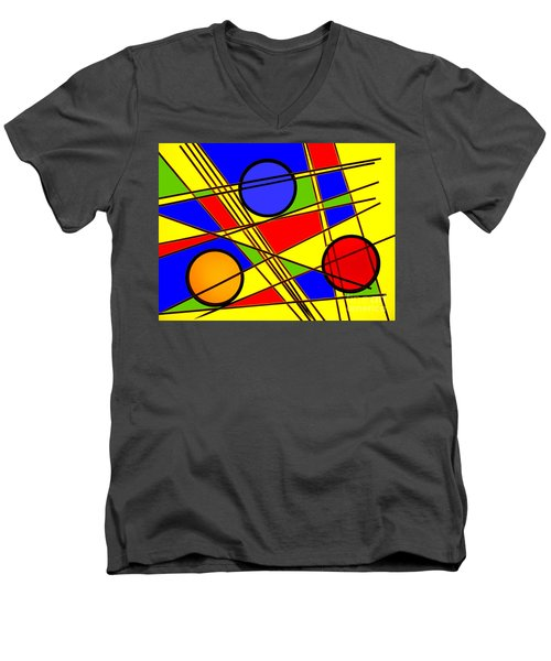 Blocks Of Color Men's V-Neck T-Shirt by Trena Mara