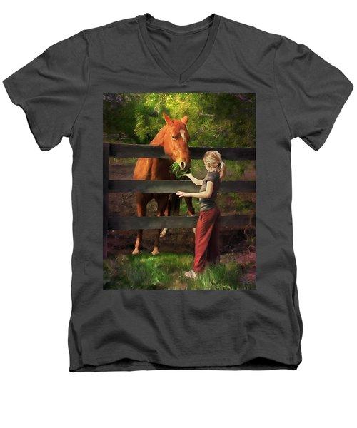 Blond With Horse Men's V-Neck T-Shirt