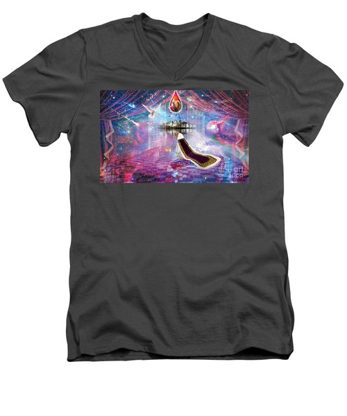 Men's V-Neck T-Shirt featuring the digital art Blood Bought by Dolores Develde