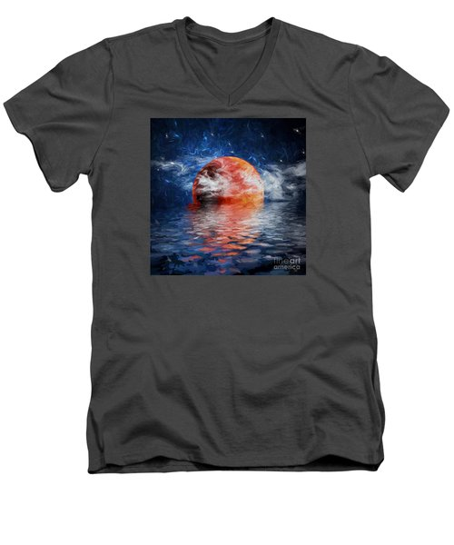 Blood Moon A Rising Men's V-Neck T-Shirt by Jim  Hatch