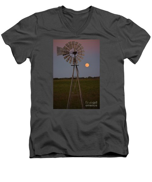 Men's V-Neck T-Shirt featuring the photograph Blood Moon And Windmill by Mark McReynolds