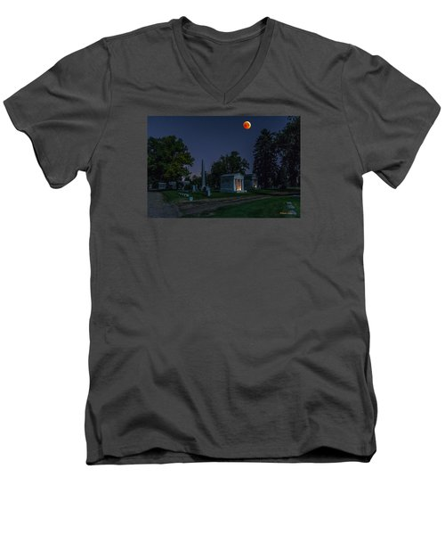 Men's V-Neck T-Shirt featuring the photograph Blood Moon At Fairmount Cemetery by Stephen  Johnson