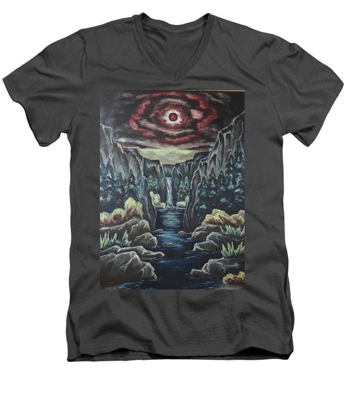 Blood Moon Men's V-Neck T-Shirt by Cheryl Pettigrew
