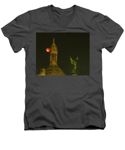Blood Moon Eclipse At Sacre Coeur Paris  2015 Men's V-Neck T-Shirt