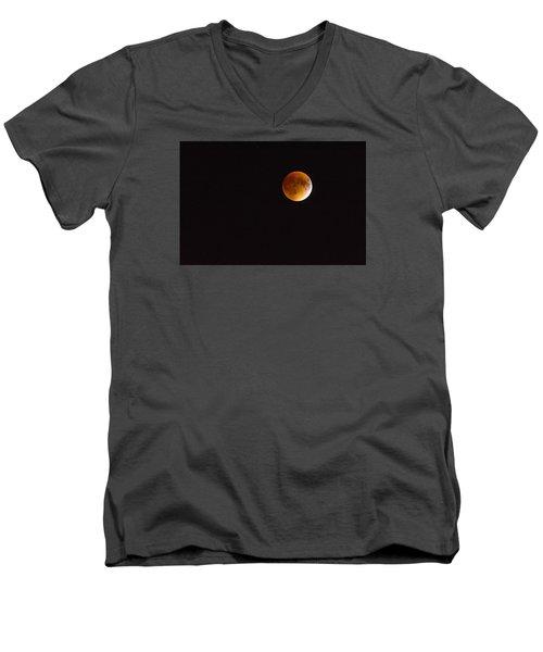 Blood Moon Luna Eclipse Men's V-Neck T-Shirt by Michael Hubley