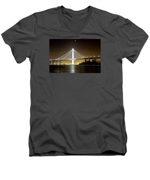 Blood Moon Over Bay Bridge Men's V-Neck T-Shirt