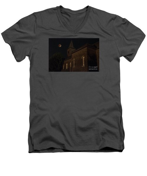 Men's V-Neck T-Shirt featuring the photograph Blood Moon Over St. Johns Church by Keith Kapple