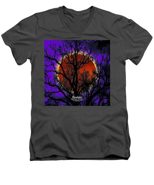 Men's V-Neck T-Shirt featuring the photograph Blood Moon Trees by Barbara Tristan