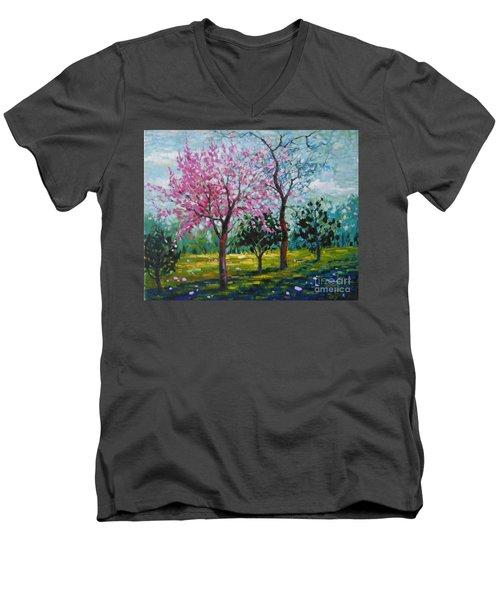 Bloom In Pink Men's V-Neck T-Shirt