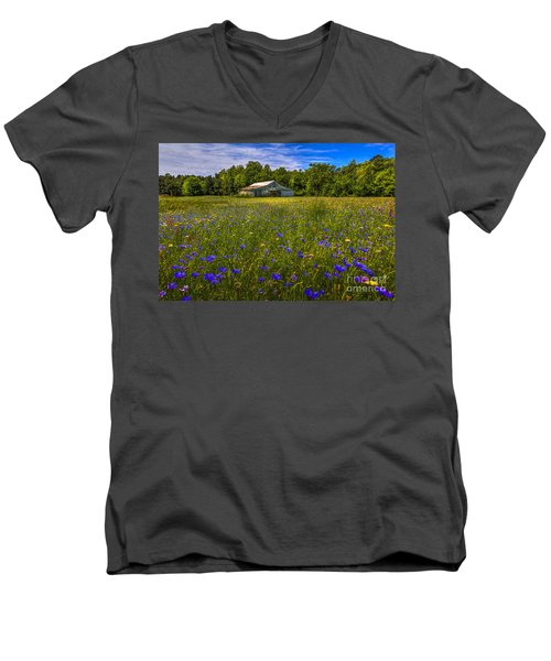 Blooming Country Meadow Men's V-Neck T-Shirt by Marvin Spates