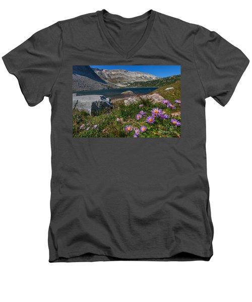 Blooming In Snowy Range Men's V-Neck T-Shirt