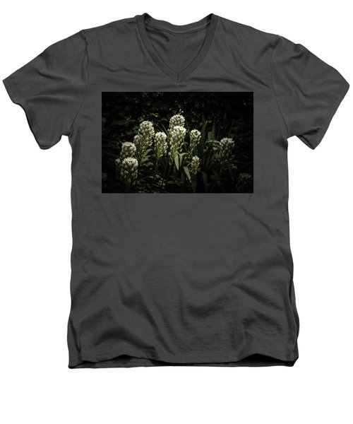 Men's V-Neck T-Shirt featuring the photograph Blooming In The Shadows by Marco Oliveira