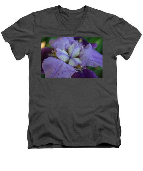Men's V-Neck T-Shirt featuring the digital art Blooming Iris by Barbara S Nickerson