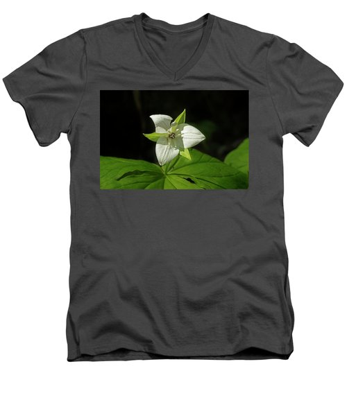Men's V-Neck T-Shirt featuring the photograph Blooming Trillium by Mike Eingle