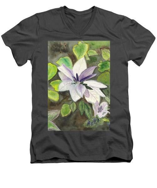Men's V-Neck T-Shirt featuring the painting Blossom At Sundy House by Donna Walsh