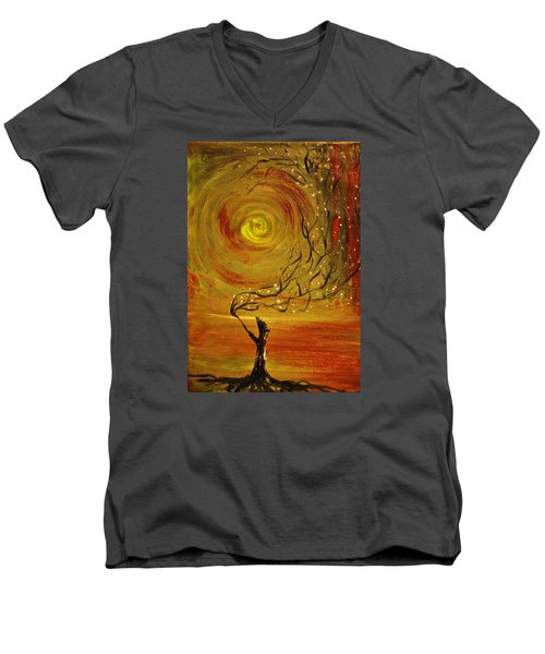 Men's V-Neck T-Shirt featuring the painting Blossom by Evelina Popilian