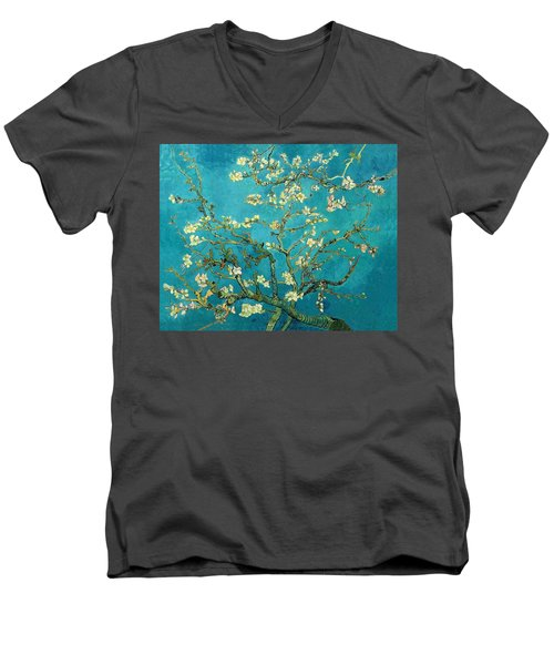 Men's V-Neck T-Shirt featuring the painting Blossoming Almond Tree by Van Gogh