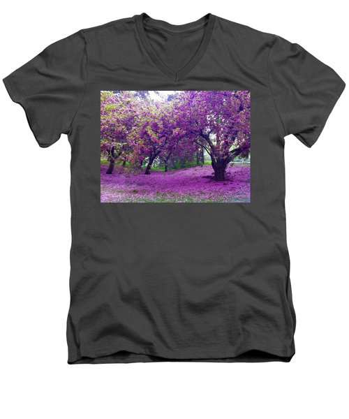 Blossoms In Central Park Men's V-Neck T-Shirt