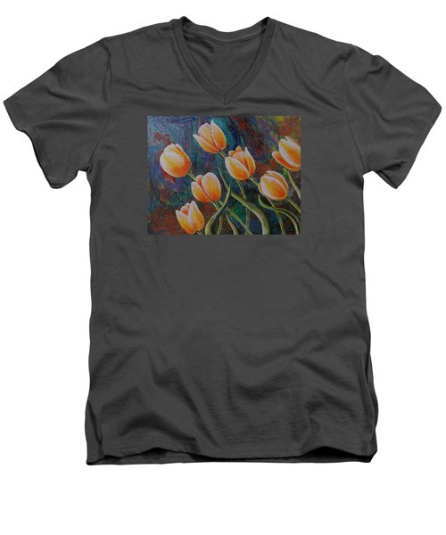 Men's V-Neck T-Shirt featuring the painting Blowing In The Wind by Susan DeLain