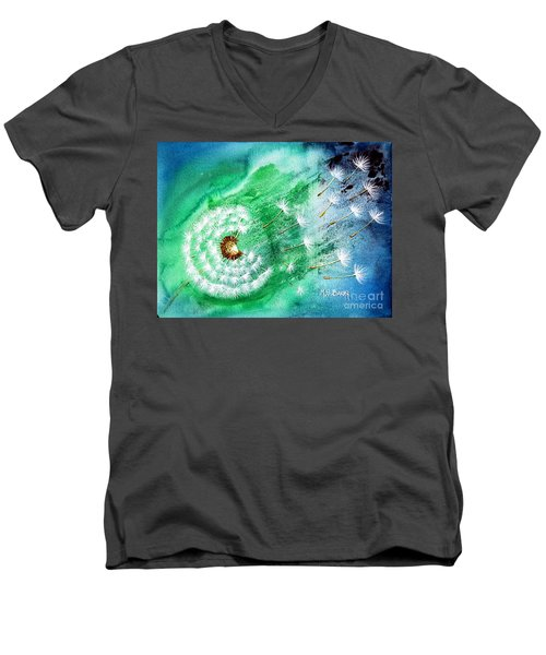 Men's V-Neck T-Shirt featuring the painting Blown Away by Maria Barry