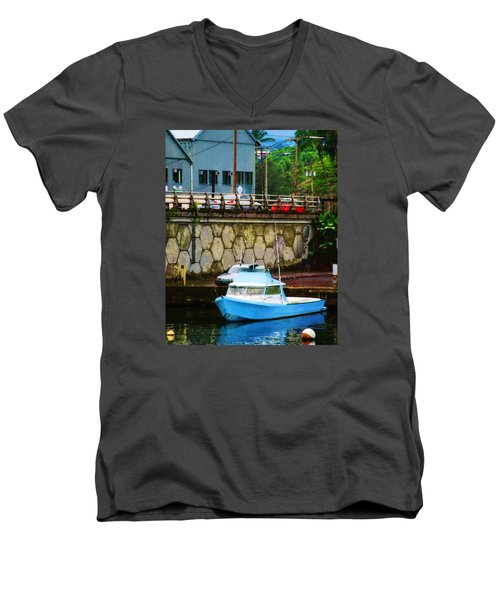 Blue Boat By The Mamalahoa Highway Men's V-Neck T-Shirt by Timothy Bulone