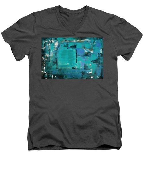 Blue Abstract Men's V-Neck T-Shirt