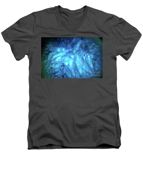 Men's V-Neck T-Shirt featuring the photograph Blue Agate by Nicholas Burningham