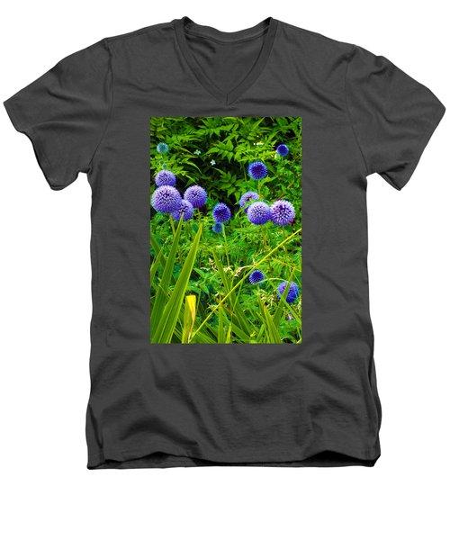 Blue Allium Flowers Men's V-Neck T-Shirt by Judi Saunders