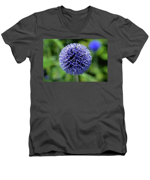 Men's V-Neck T-Shirt featuring the photograph Blue Allium by Terence Davis