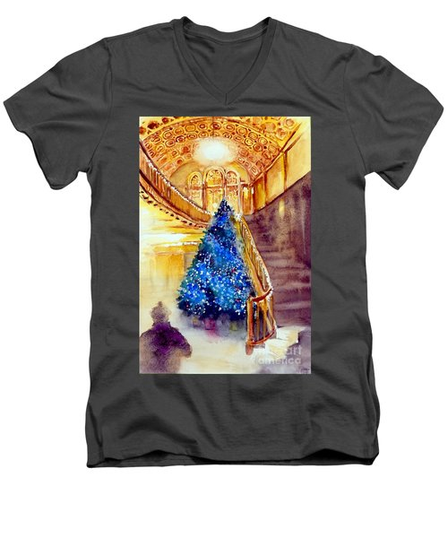 Blue And Gold 2 - Michigan Theater In Ann Arbor Men's V-Neck T-Shirt by Yoshiko Mishina