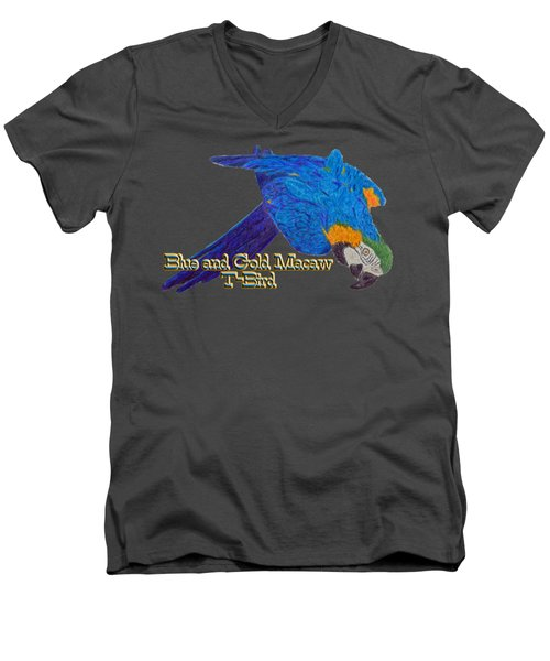 Blue And Gold Macaw Men's V-Neck T-Shirt by Zazu's House Parrot Sanctuary