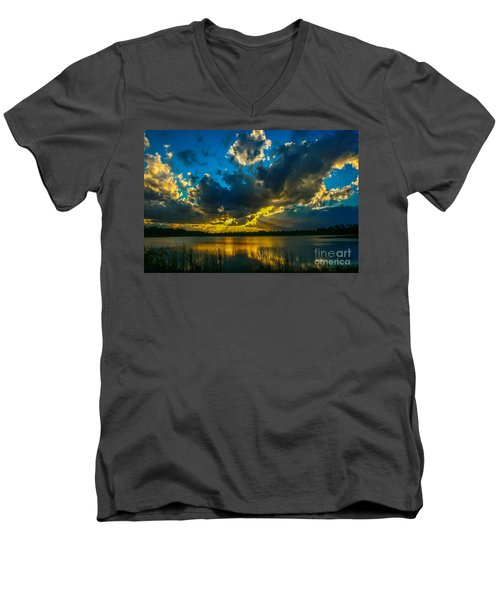 Blue And Gold Sunset With Rays Men's V-Neck T-Shirt by Tom Claud