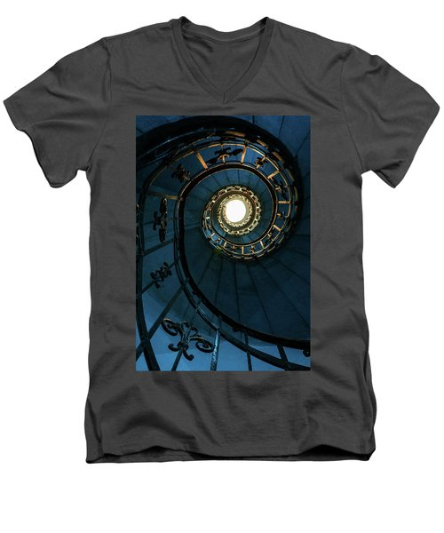 Men's V-Neck T-Shirt featuring the photograph Blue And Golden Spiral Staircase by Jaroslaw Blaminsky