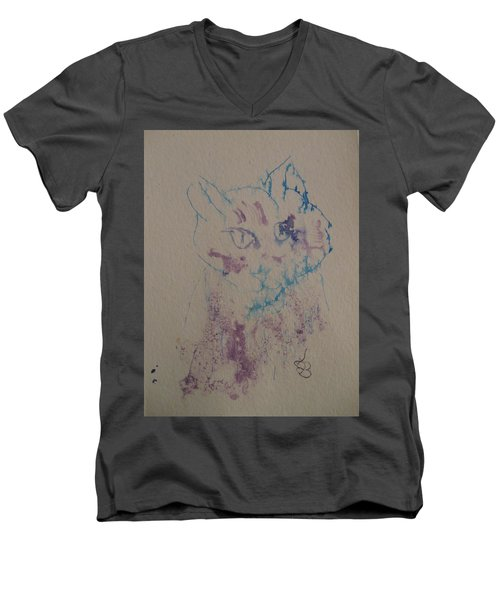 Blue And Purple Cat Men's V-Neck T-Shirt by AJ Brown