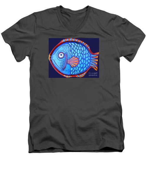 Blue And Red Fish Men's V-Neck T-Shirt by Genevieve Esson