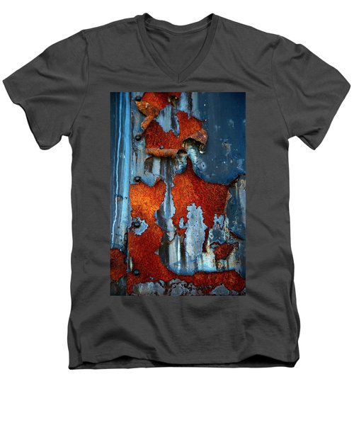Men's V-Neck T-Shirt featuring the photograph Blue And Rust by Karol Livote