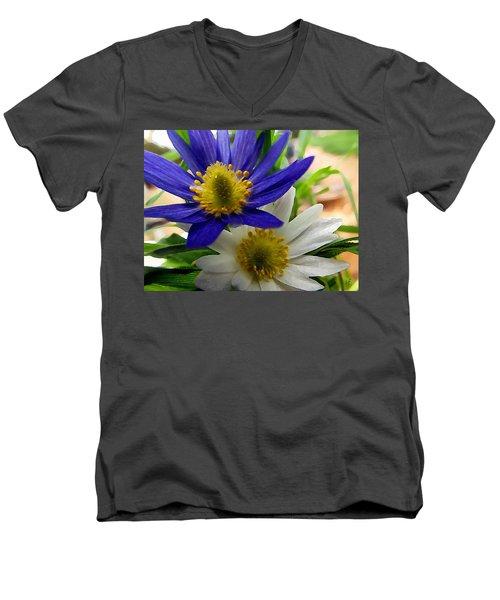 Blue And White Anemones Men's V-Neck T-Shirt