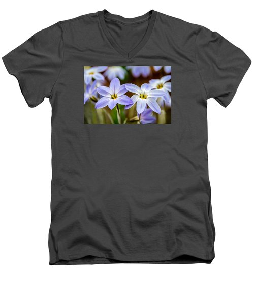 Blue And White Flowers  Men's V-Neck T-Shirt by Martina Fagan