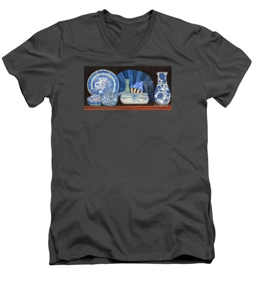 Blue And White Porcelain Ware Men's V-Neck T-Shirt by Marlene Book