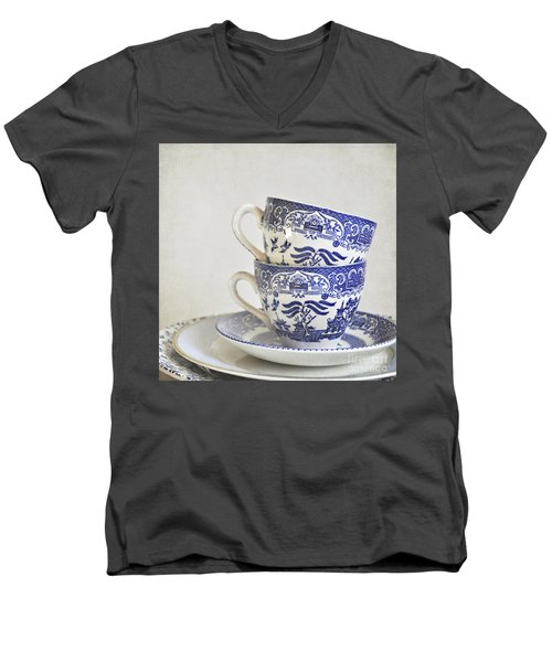 Blue And White Stacked China. Men's V-Neck T-Shirt