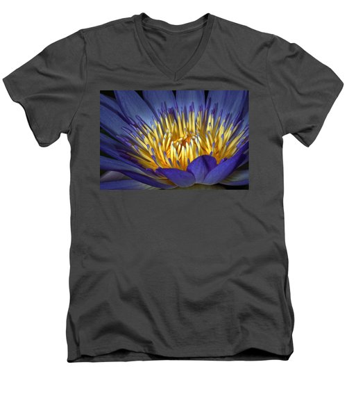 Blue And Yellow Men's V-Neck T-Shirt