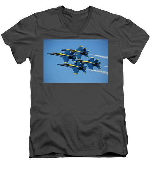 Men's V-Neck T-Shirt featuring the photograph Blue Angels Diamond Formation by Adam Romanowicz