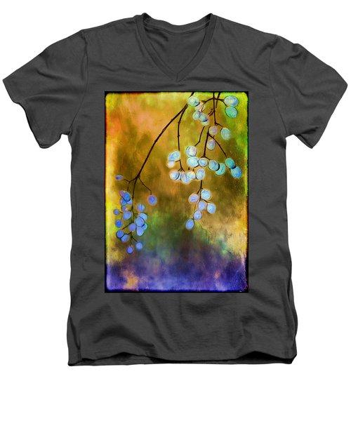 Blue Autumn Berries Men's V-Neck T-Shirt
