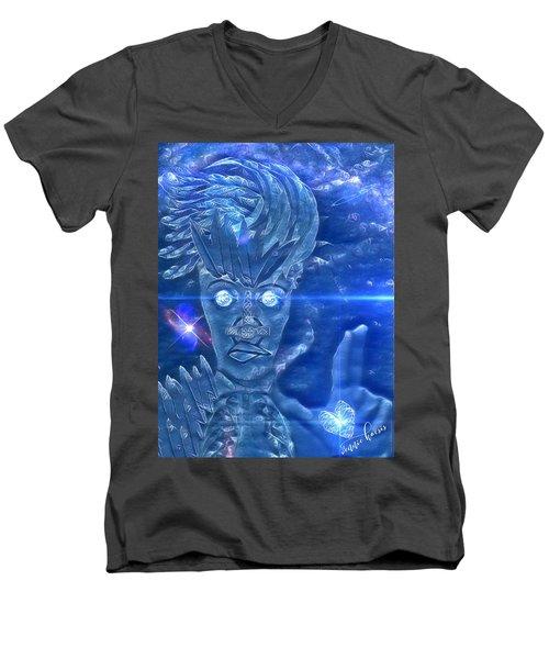 Blue Avian Men's V-Neck T-Shirt by Vennie Kocsis
