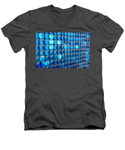 Blue Men's V-Neck T-Shirt by Barbara Bardzik